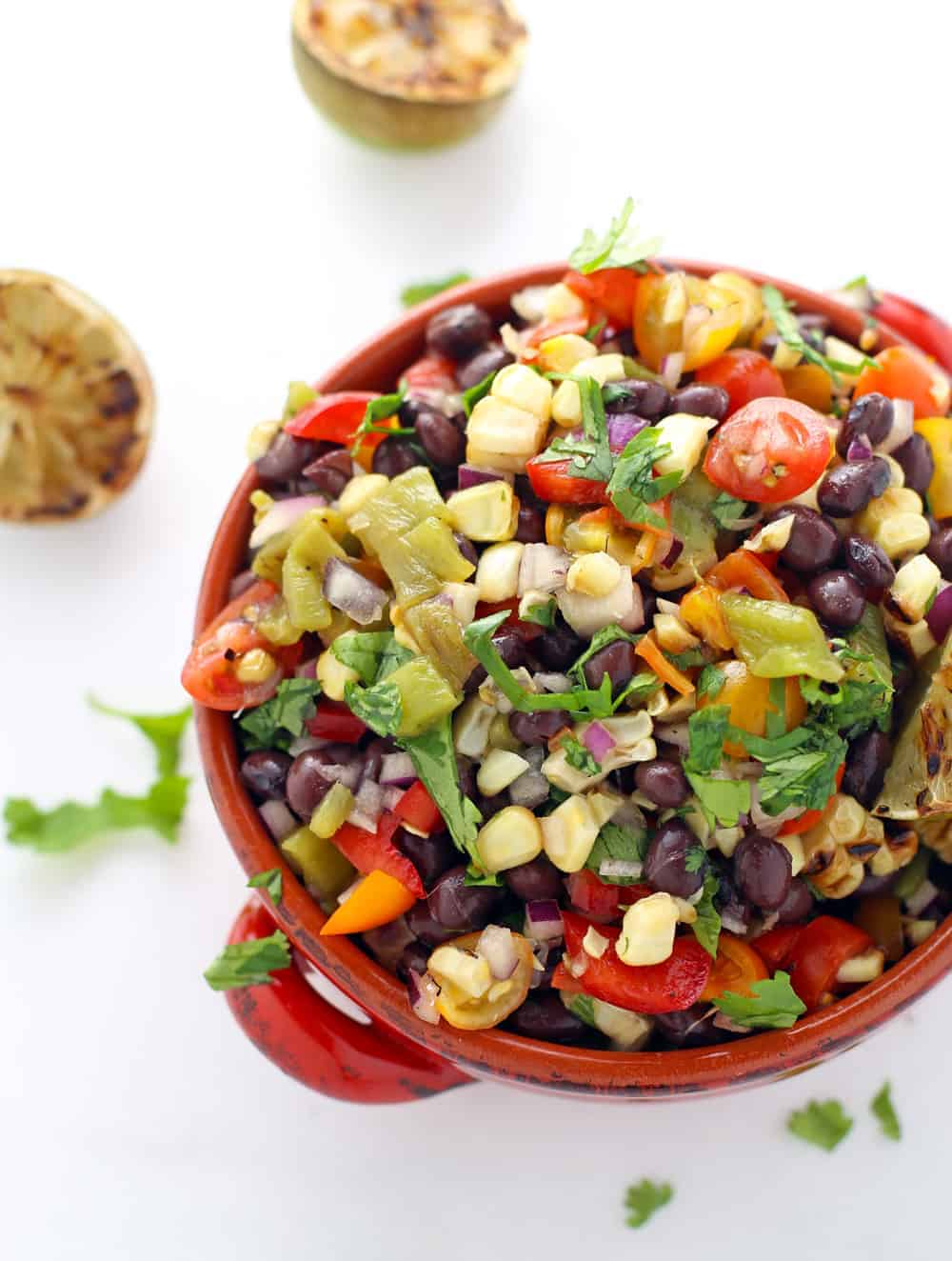 Black Bean Salad with Grilled Corn and Grilled Poblano Peppers