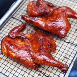 Dry Brined Smoked Chicken with a Carolina Glaze