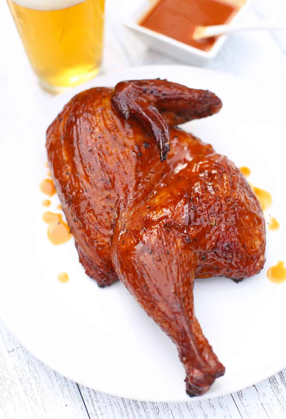 Dry Brined Carolina Style BBQ Chicken on a plate
