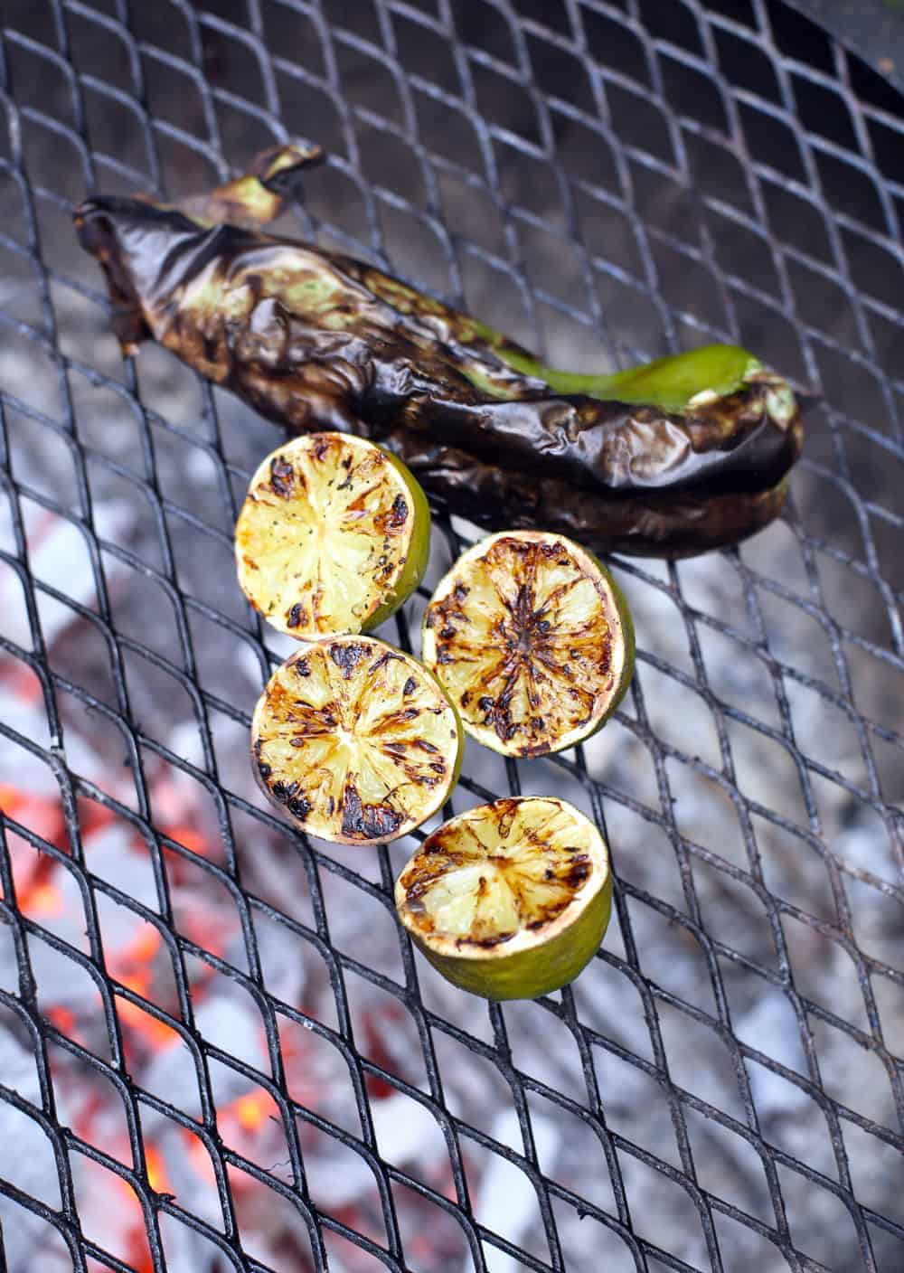 Grilling Peppers and Limes for Black Bean Salad
