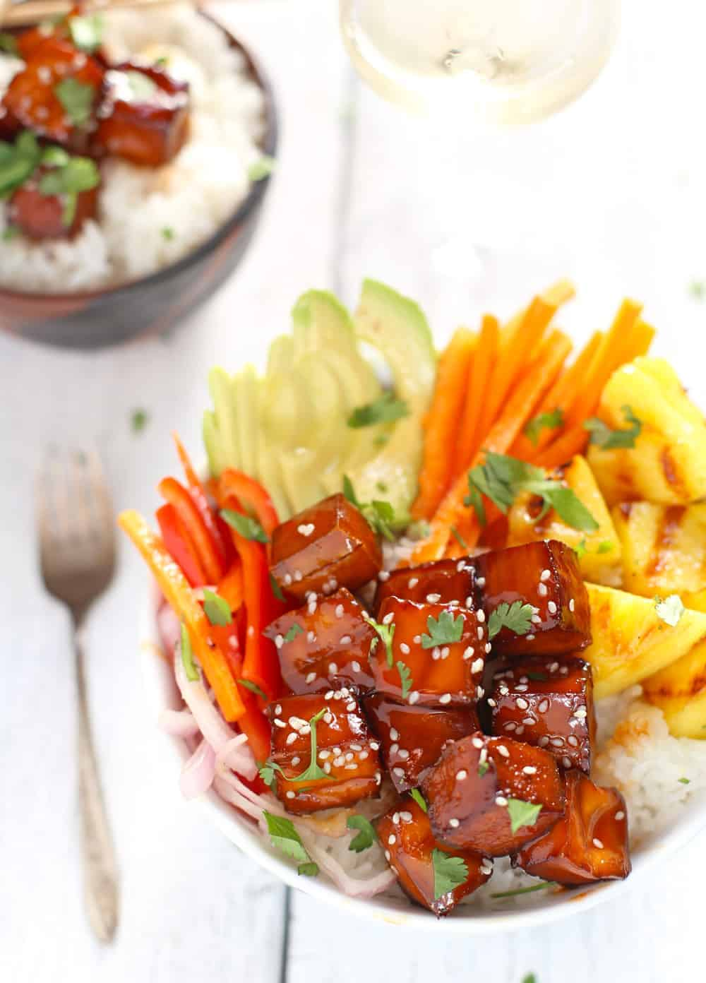 smoked bbq tofu bowls with coconut rice, grilled pineapple and veggies