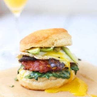 Smoked Sausage and Bacon Breakfast Sandwiches