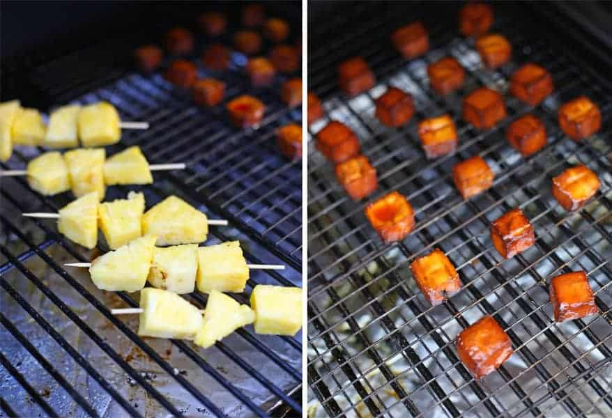 Smoking pineapple and tofu on the grill