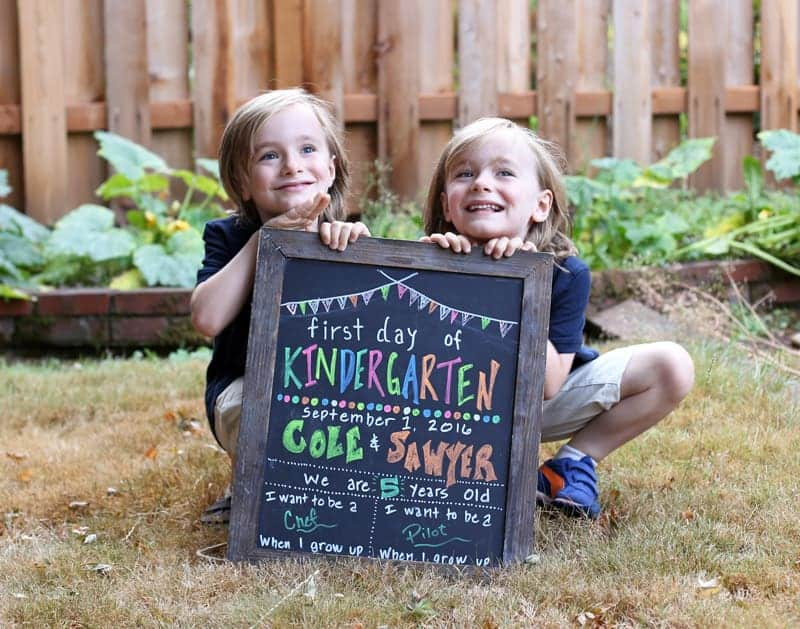 1st Day of Kindergarten Sign with Twins