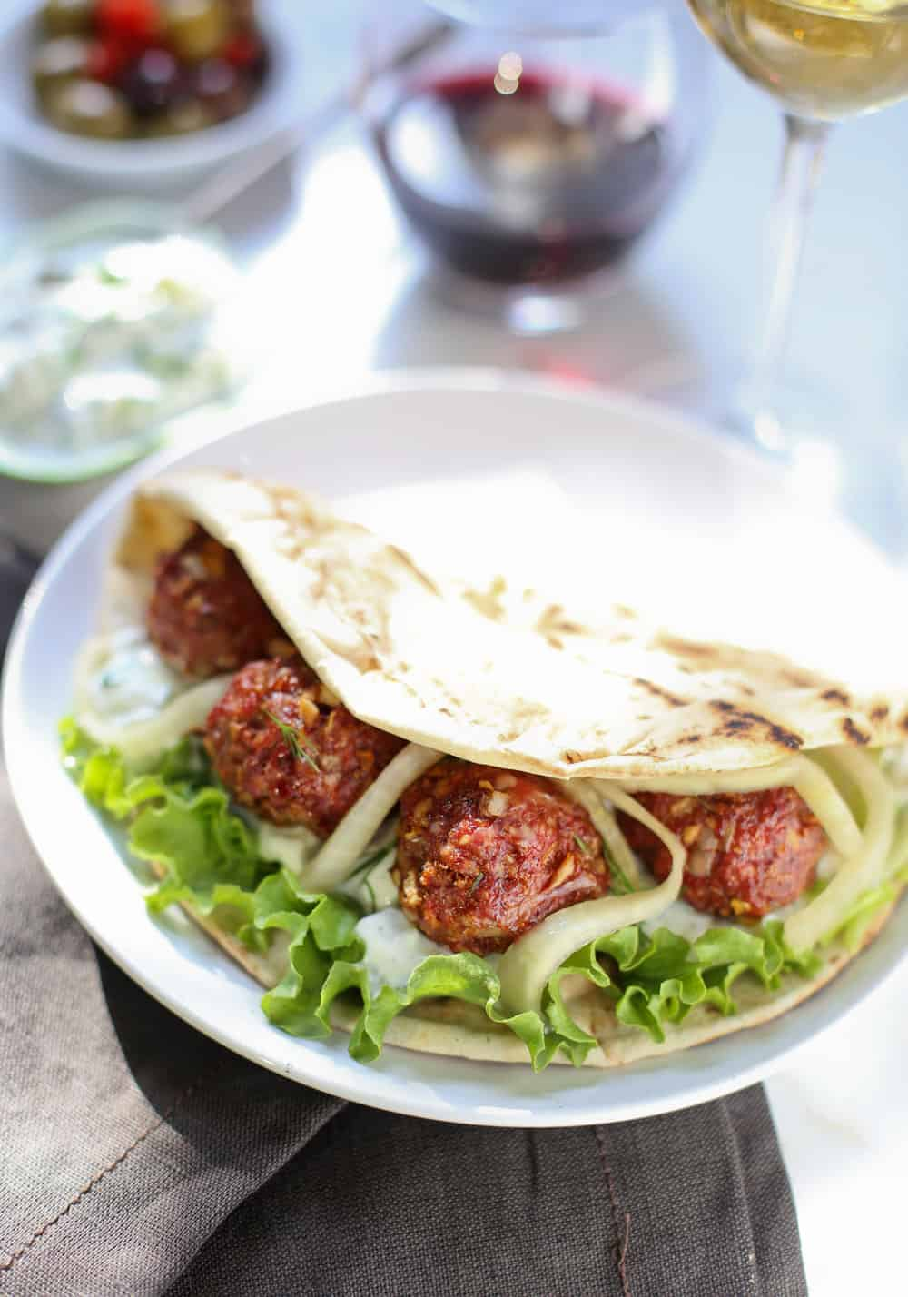 Smoked Lamb Meatball Pita Sandwiches. An incredible way to add flavor to any pita sandwich.