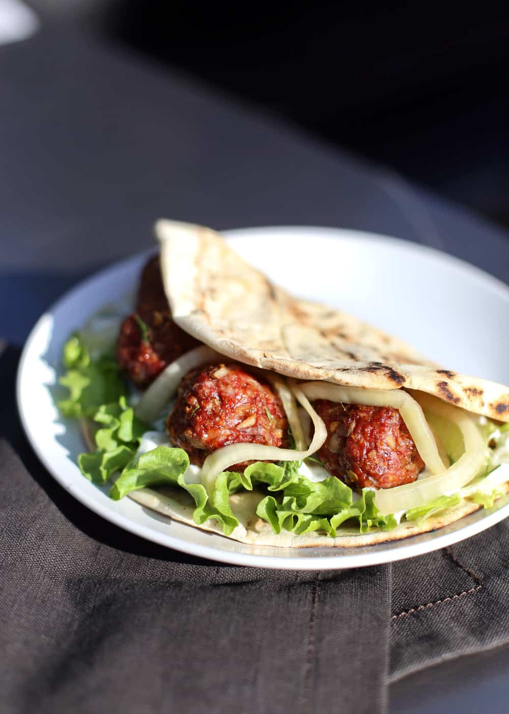 Smoked Lamb Meatball Pitas, cooked on the smoker