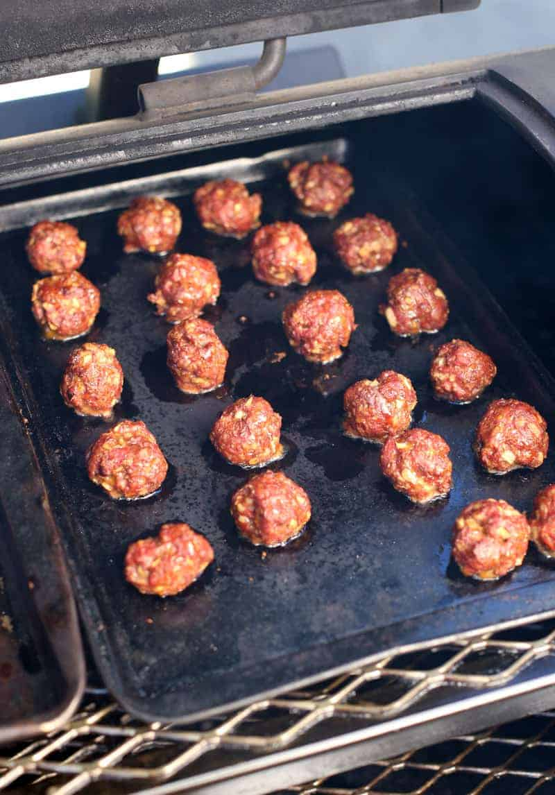 Smoked Lamb Meatballs, cooked on a smoker