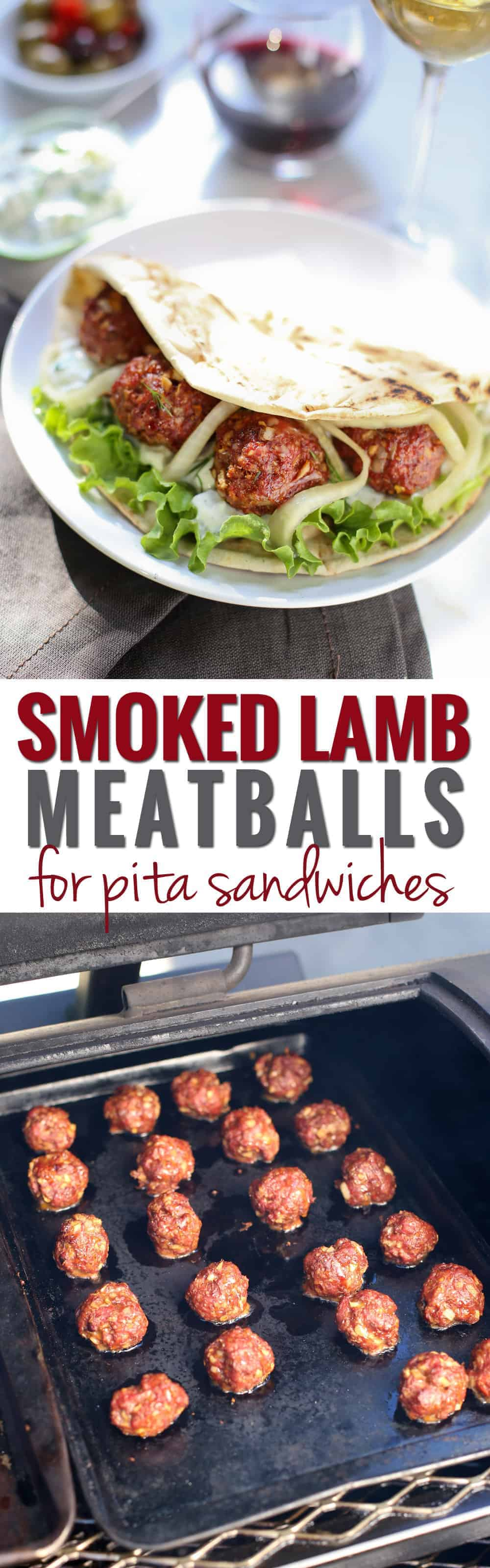 Smoked Lamb Meatballs for incredible Pita Sandwiches. Tender ground lamb makes for the most flavorful meatballs ever. These are downright perfect!