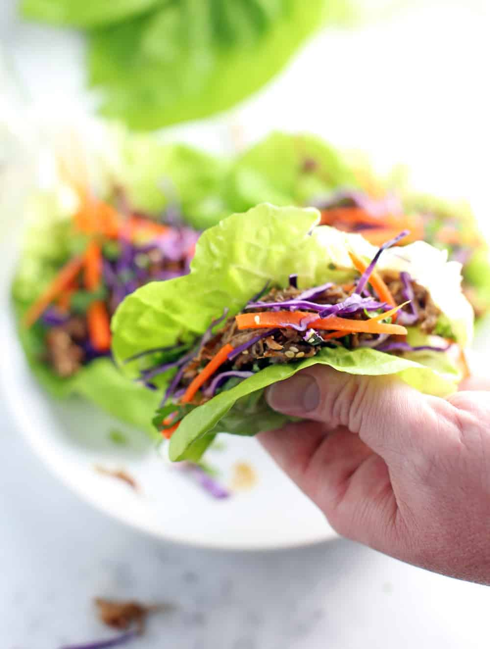 Asian Smoked Pulled Pork Lettuce Wraps