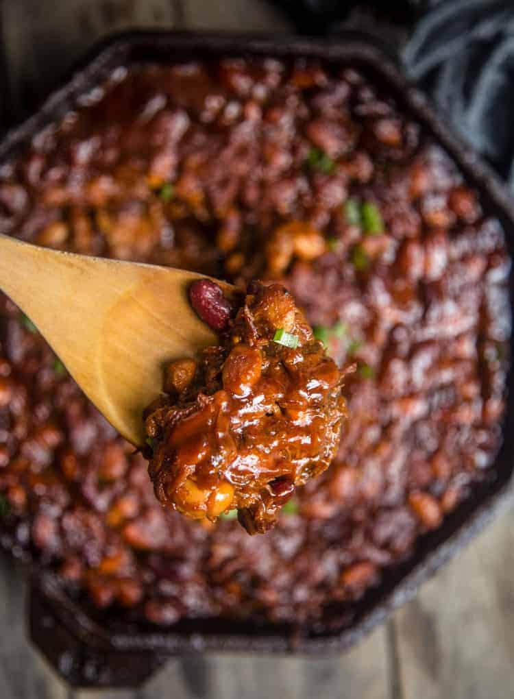 A spoonful of BBQ Baked Beans