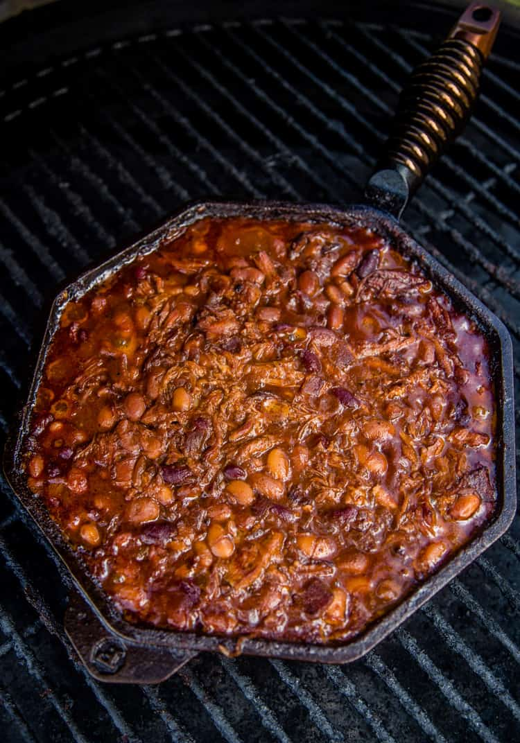 Baked Beans cooking on the Smoker
