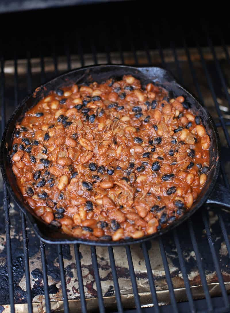 Cooking BBQ Baked Beans on a Smoker