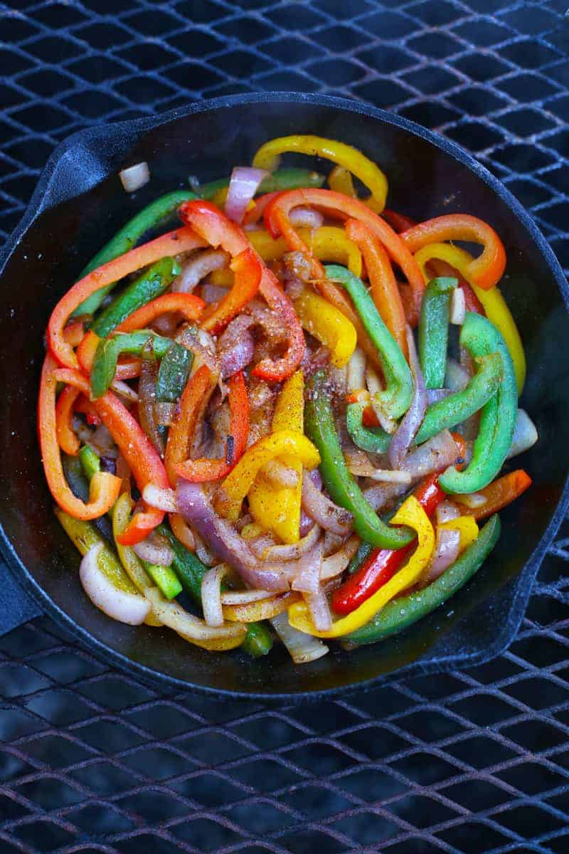 Cooking vegetables on the grill for Fajitas