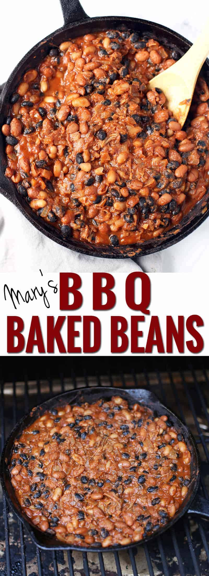 Mary's easy BBQ Baked Beans cooked on a Smoker. Comforting, slightly sweet, mildly smoky, rich, meaty, and totally indulgent!