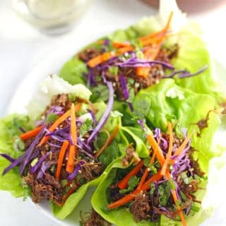 Smoked Pulled Pork Lettuce Wraps with Asian Dipping Sauce