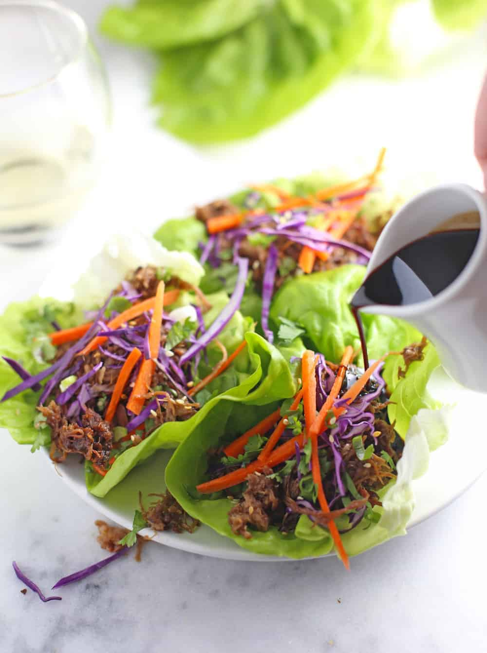 Asian Dipping Sauce poured over lettuce wraps