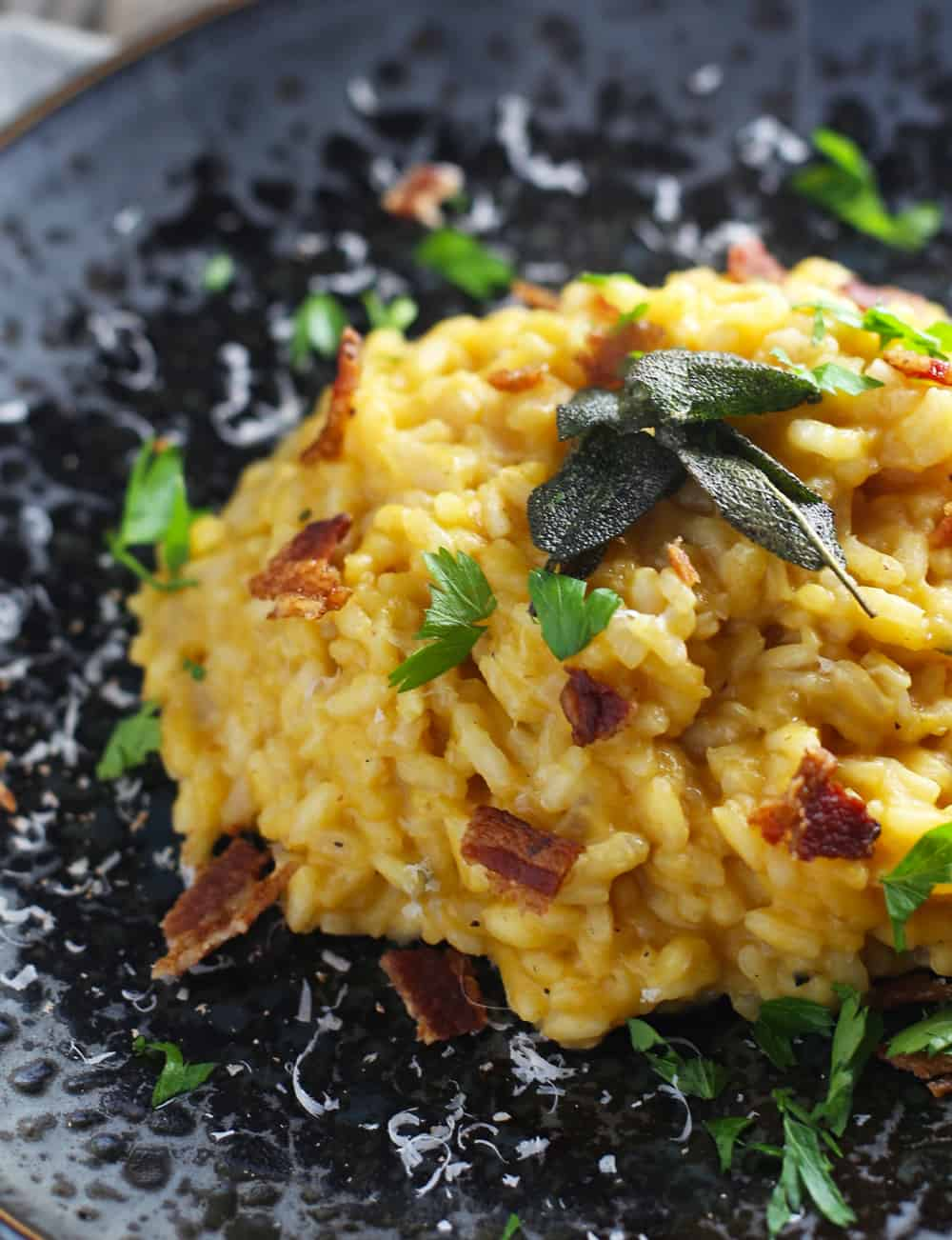Pumpkin Risotto With Sage Roasted Chicken Recipe — Dishmaps