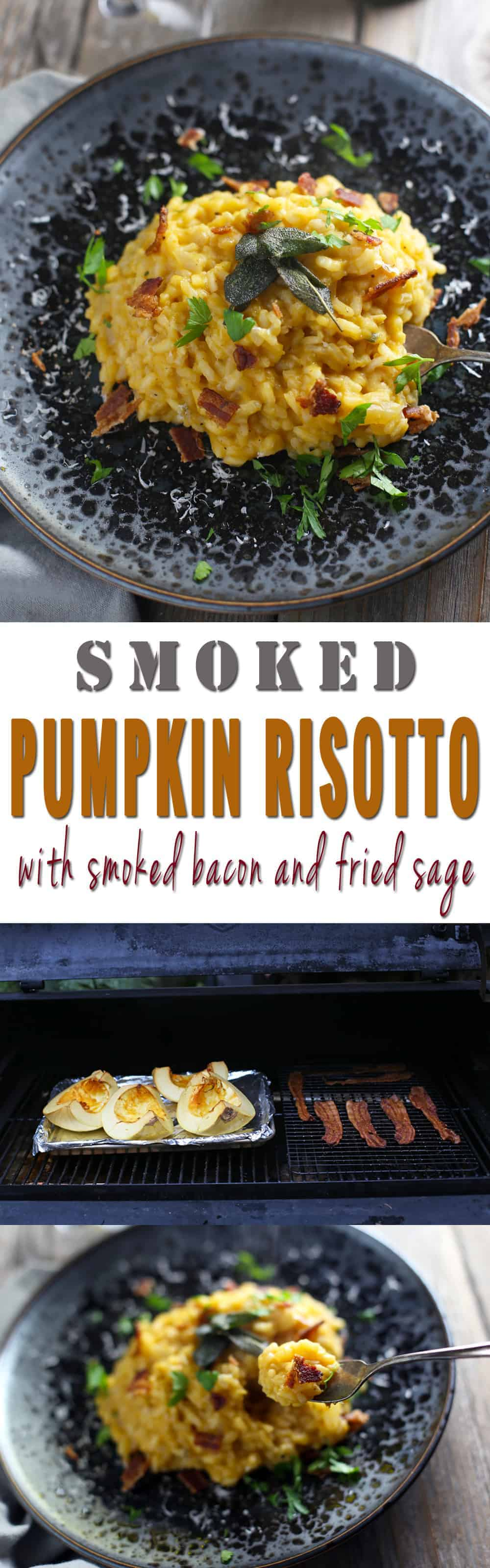 Smoked Pumpkin Risotto with Smoked Bacon and Fried Sage. The ultimate fall themed recipe for smoked food lovers! Super indulgent and oh-so-delicious!