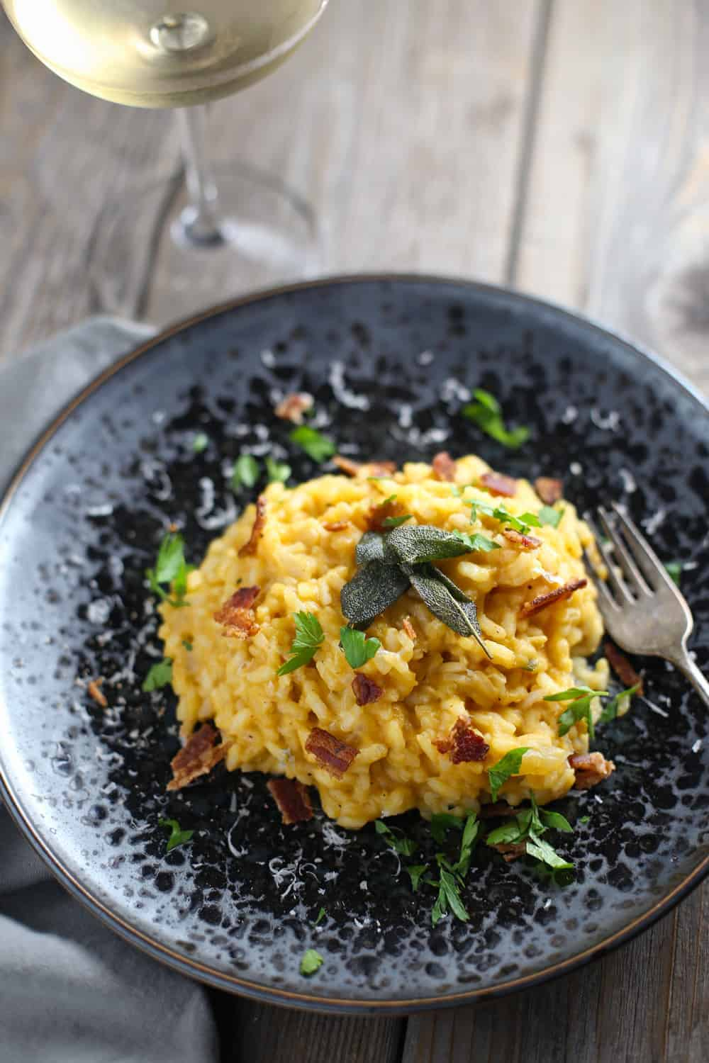 Smoked Pumpkin Risotto with Smoked Bacon and Fried Sage
