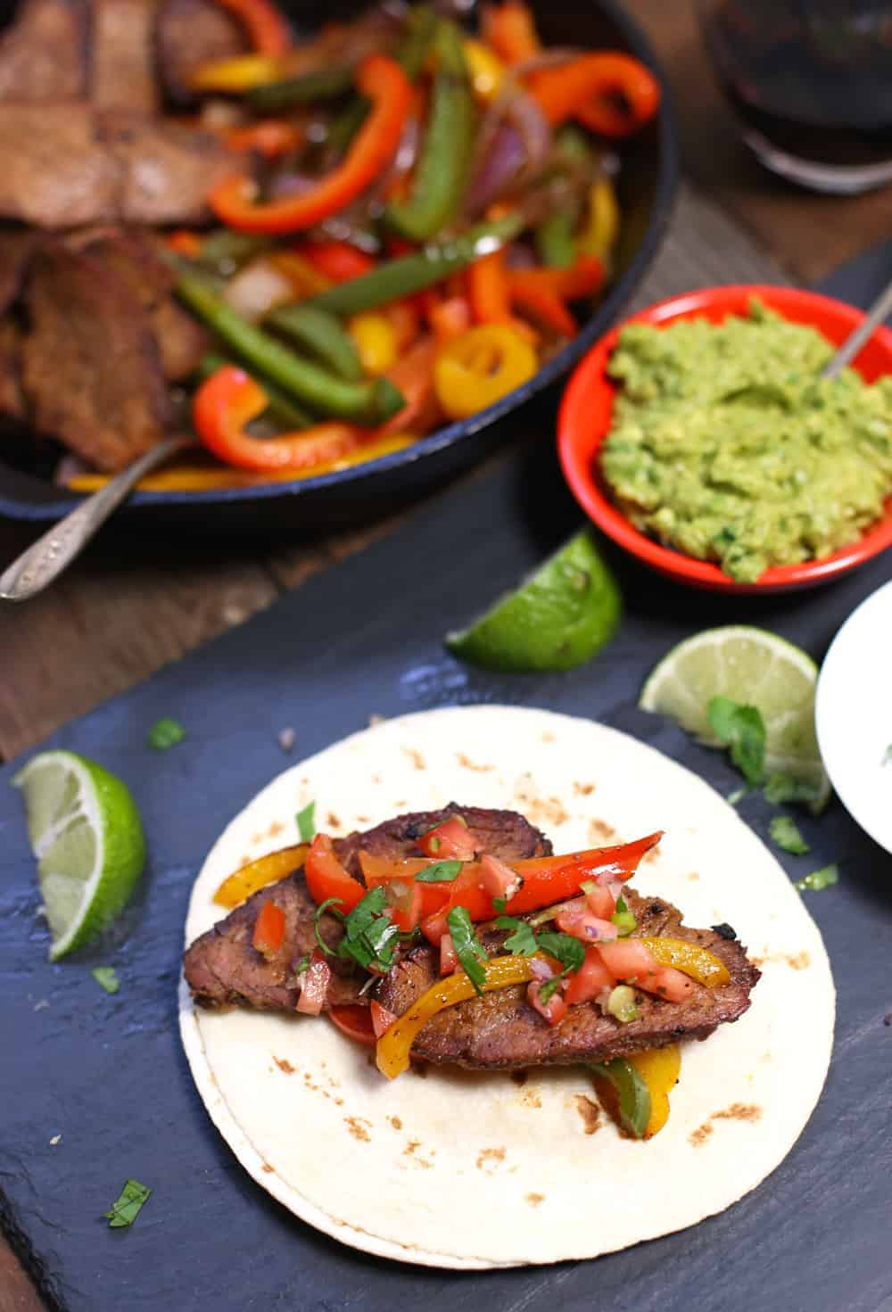 Smoked Tri-Tip Fajitas. A fantastic use for leftover Tri-Tip steak