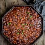 BBQ Baked Beans in a cast iron pan