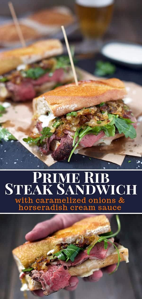 Prime Rib Steak Sandwich on a baguette with caremelized onions and horseradish cream sauce on parchment paper, pinterest image