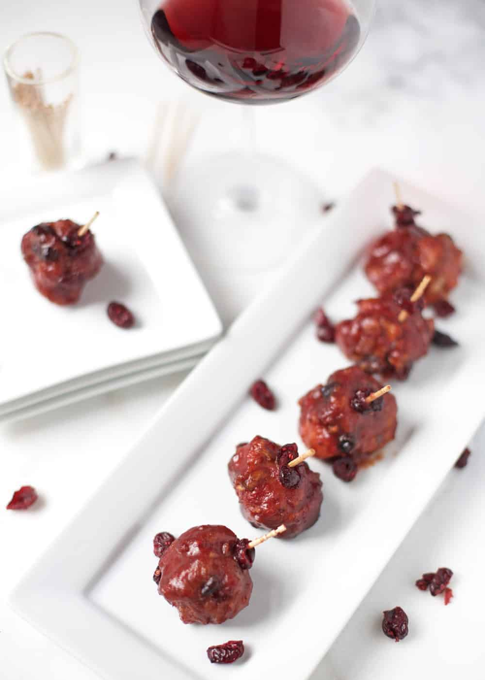 Smoked Meatballs with Cranberry Red Wine Sauce