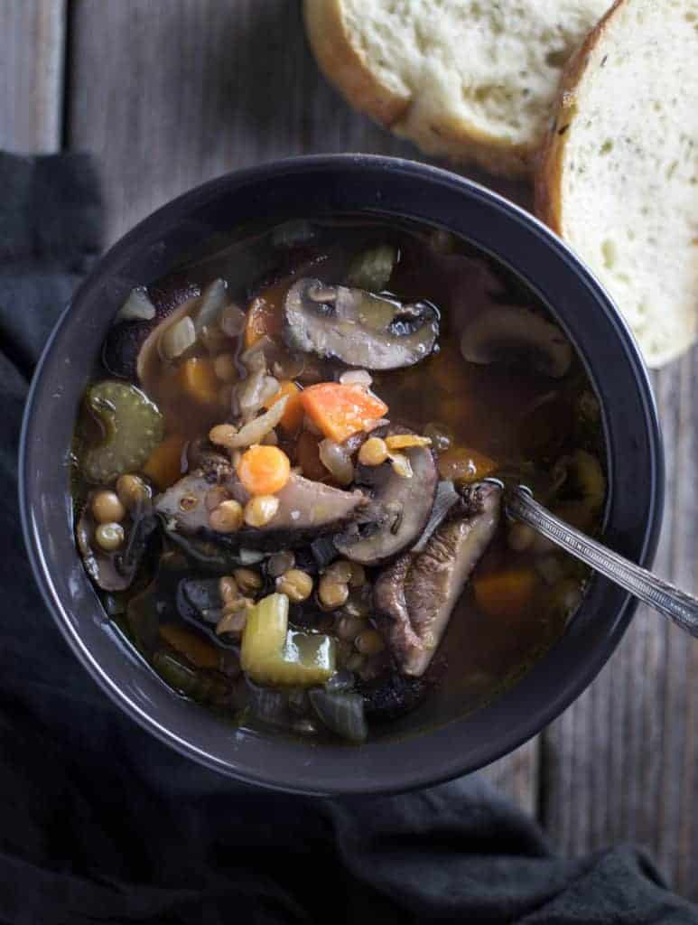 Lentil Soup Recipe with Smoked Mushrooms