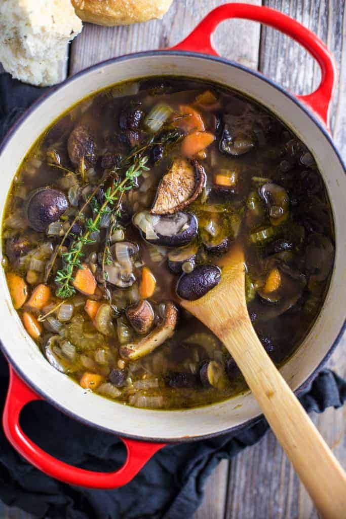 Bowl of Lentil Soup with Smoked Mushrooms