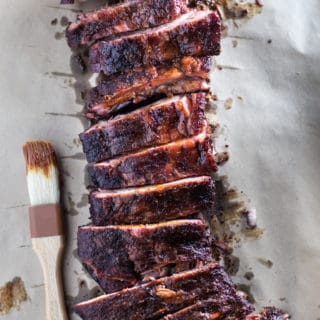 Smoked Ribs with Spicy Mango BBQ Sauce (low sugar)