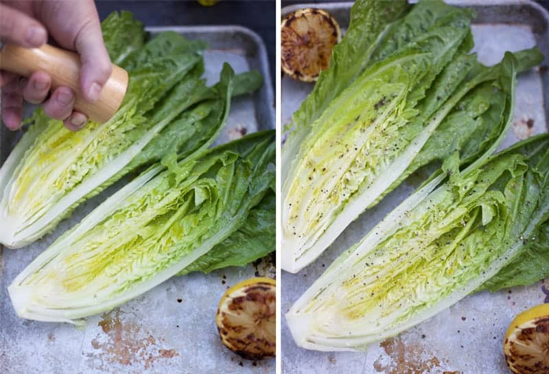Seasoning lettuce with salt and pepper
