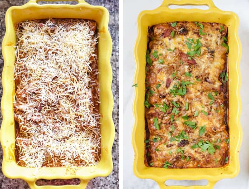 Smoked Pulled Pork Enchiladas before and after