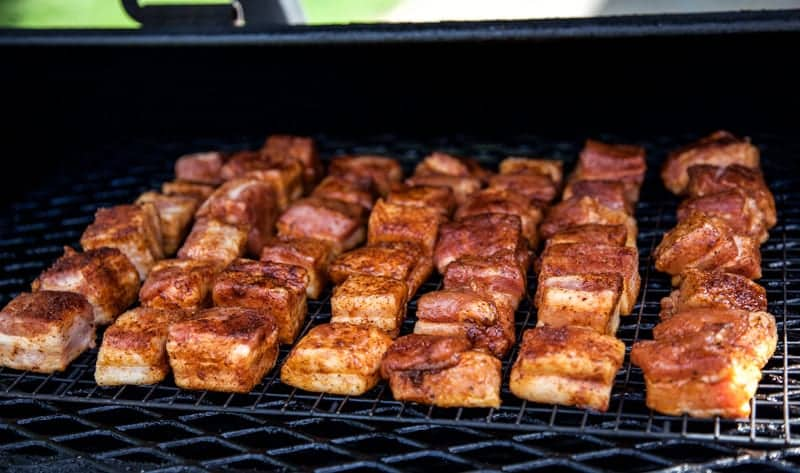 Cubes of Pork Belly on the Smoker