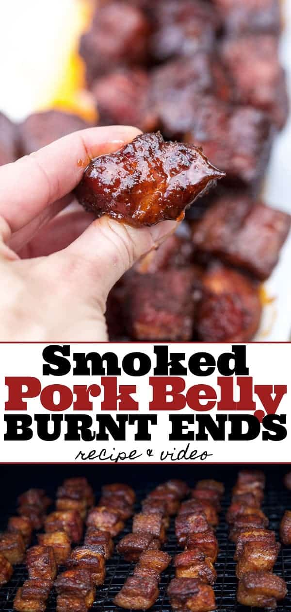 A hand holding Smoked Pork Belly Burnt ends, and pork belly burnt ends on the smoker, pinterest image