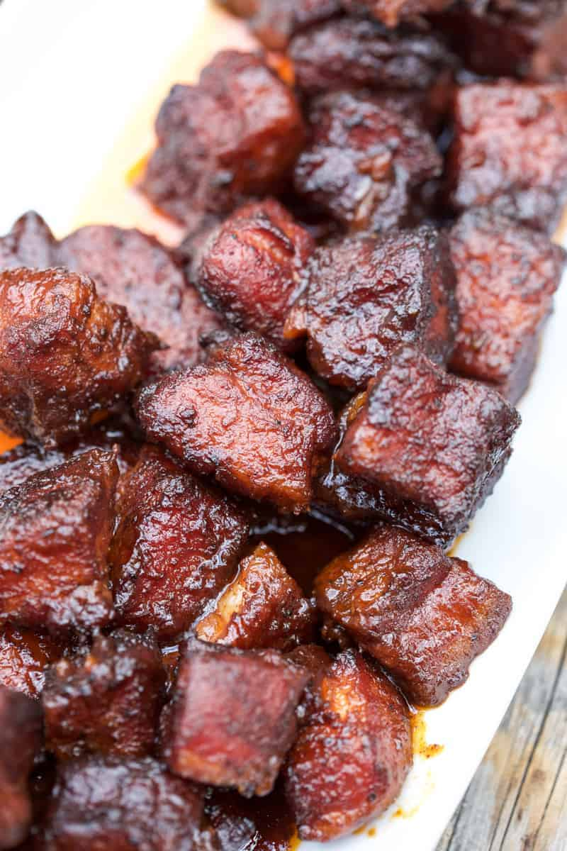 Smoked Pork Belly Burnt Ends close up - 12 Epic BBQ Recipes To Make All Summer