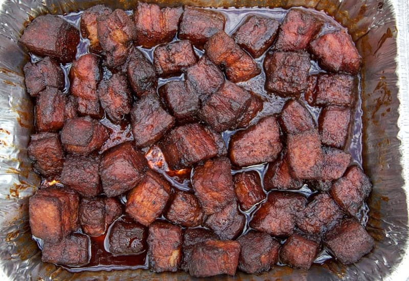 Tray of Smoked Pork Belly Cubes, Finished