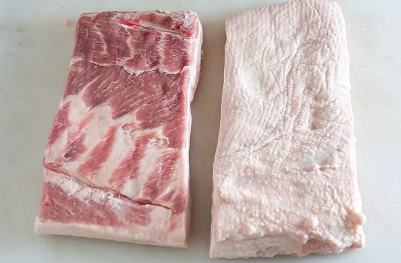 Raw Pork Belly slabs.