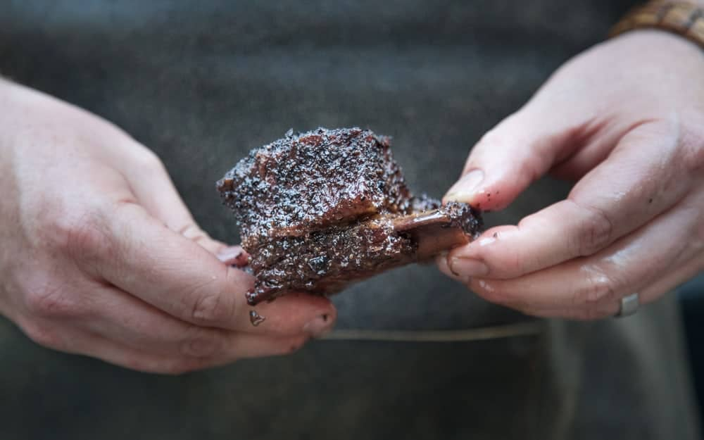 A Single Smoked Beef Short Rib