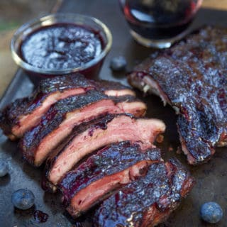 Blueberry Bourbon Rosemary Smoked Ribs