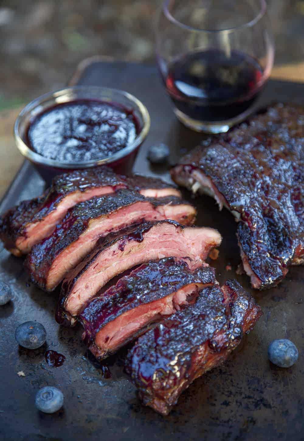 Blueberry Bourbon Rosemary Pork Ribs