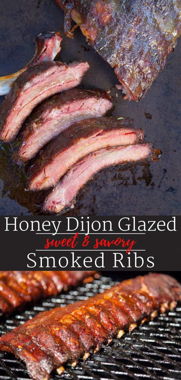 honey dijon glazed smoked ribs pin image