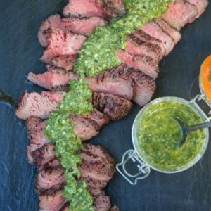 Red Wine Marinated Smoked Tri Tip with Chimichurri Sauce