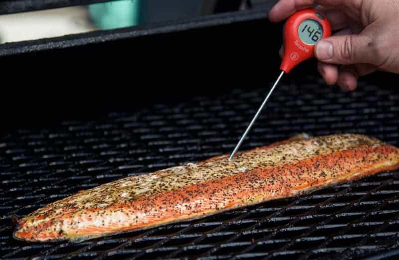 Taking Temperature of Smoked Salmon