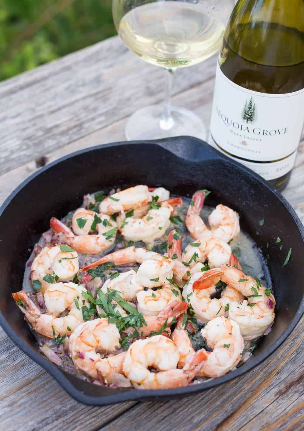 Grilled Garlic Chardonnay Shrimp and Sequia Grove Chardonnay