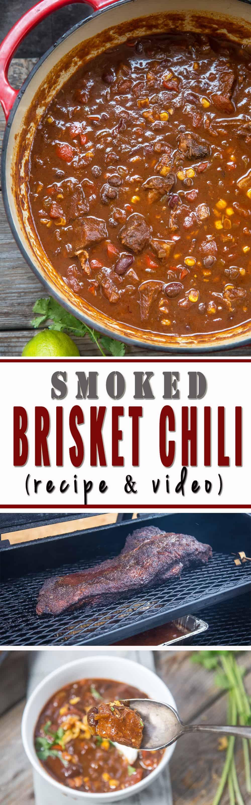 Award-Winning Smoked Brisket Chili! Use up leftover brisket to make this indulgent, rich, and smoky chili. Recipe and Video!