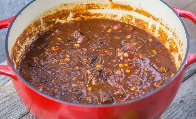 Brisket Chili Cooked in a Lodge Cast Iron Pan