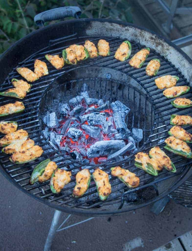 Buffalo Chicken Jalapeño Poppers cooked on the Grill