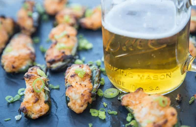 Grilled Buffalo Chicken Jalapeno Poppers and Beer