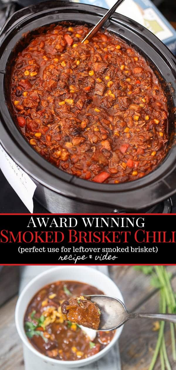 Award Winning Smoked Brisket Chili in a black pot, pinterest image