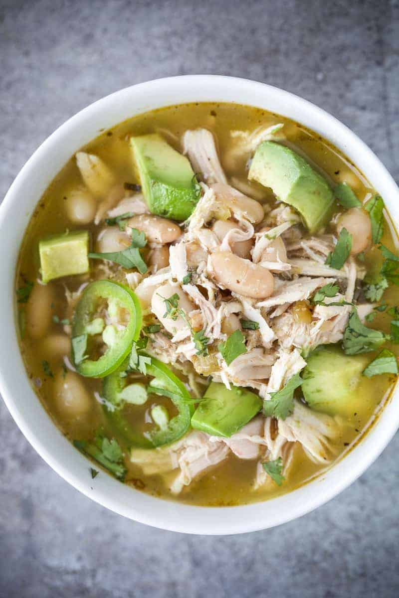 Bowl of Smoked Chicken Salsa Verde Soup